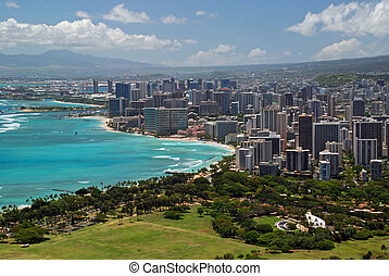 Honolulu on Oahu Hawaii. Bird's eye view on Oahu, Hawaii, United States.