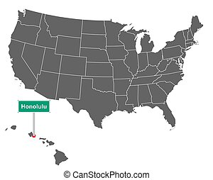 Honolulu city limit sign and map of USA