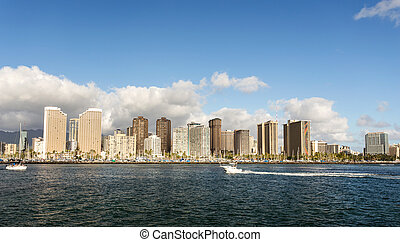 Honolulu cityscape with seafront