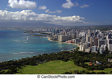 Honolulu, Hawaii - A scenic view from atop diamond head...
