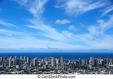 Honolulu Metropolitan cityscape - Waikiki and Honolulu...