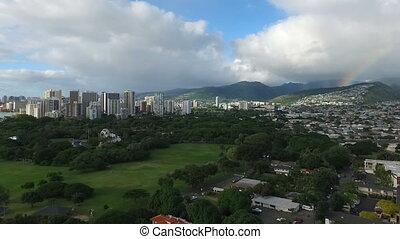 Honolulu Rainbow Arch Oahu Island Hawaii Storm Clearing -...