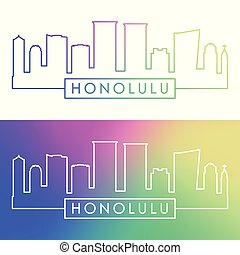 Honolulu skyline. Colorful linear style.