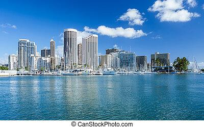 Honolulu skyline with seafront, Oanu Hawaii