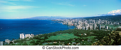 Looking down on Honolulu and Waikiki Beach from the top of Diamond Head