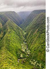 Honopue Valley, Big Island, Hawaii - Aerial view of the...