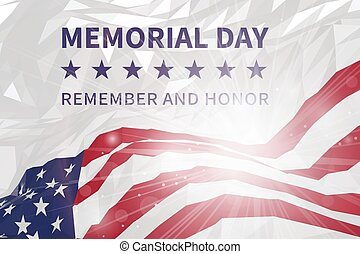 honor., 記念, 思い出しなさい, 三角, day., 旗, スタイル, アメリカ人