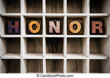 Honor Concept Wooden Letterpress Type in Draw