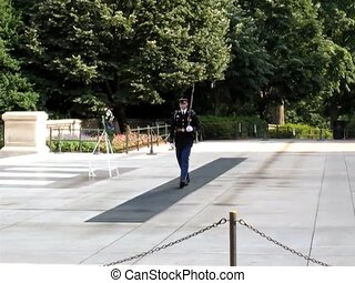Arlington Cemetery - Honor guard at the Tomb of the Unknowns...