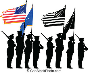 Honor guard - Color guard of the United States with the...