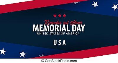 honor., memoriał, pamiętać, flag., day., amerykanka, usa.
