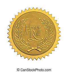honor, sello oro