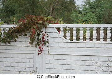 honor the white concrete wall of the fence overgrown with colored vegetation