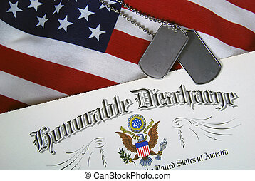 Military dog tags and discharge certificate on flag.