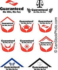 honorarium, iconen, nee, guaranteed, etiket, winnen, badge