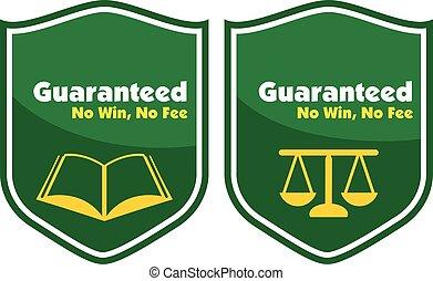 honorarium, nee, guaranteed, etiket, winnen, badge