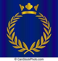 honra, illustration., ouro, coroa real, color., vitória, vetorial, qualidade