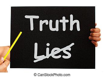 honradez, mentiras, tabla, verdad, no, exposiciones