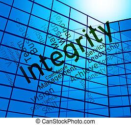 honradez, texto, virtud, palabras, integridad, exposiciones
