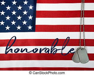 honrado, militar, cão, etiquetas