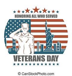 honrar, servido, todos, veteranos día