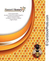 honung, bakgrund, abstrakt