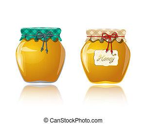 honung, glasburk