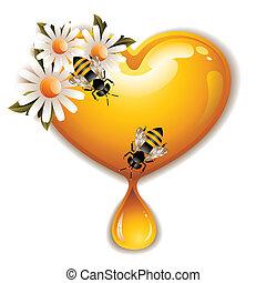honung, hjärta, ikon