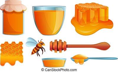 honung, sätta, stil, tecknad film, ikonen
