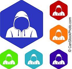 Hood icons set hexagon