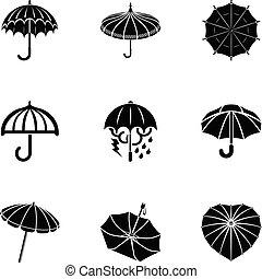 Hood icons set, simple style - Hood icons set. Simple set of...