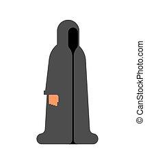 hood., isolated., 僧侶, 插圖, cartoon., 矢量, 黑色, 男修道士, occultist, monastic