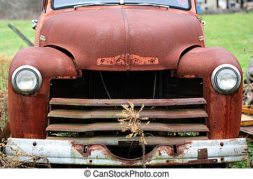 hood of rusted old truck