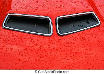 Hood Scoops - Hood scoops on an orange classic muscle car