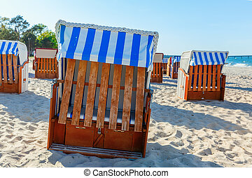 hooded beach chairs at the Baltic Sea on Ruegen