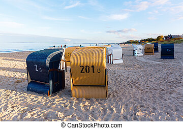 hooded beach chairs on Usedom, Germany