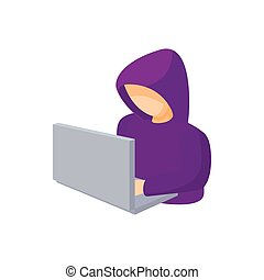 Hooded computer hacker with laptop icon