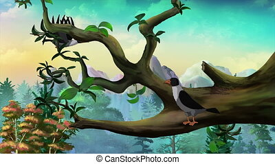 Hooded Crow on the branch.  Handmade Animation.