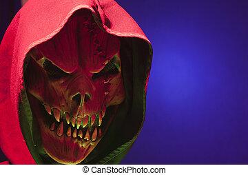 Hooded Demon - Demonic Hooded figure in blue fog.