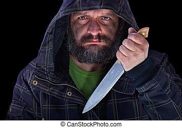 hooded, groot, gezicht, vieze , het bang maken, mes, man