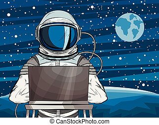 Hooded hacker Astronaut behind a laptop in pop art style. Cosmonaut on Mars planet surface