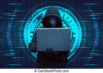 Hooded hacker typing on laptop while standing