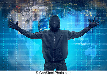 Hooded hacker with anonymous mask