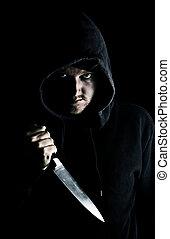 hooded, intimidating, embrear, juventude, peito, faca