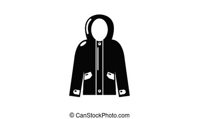 Hooded jacket icon animation simple best object on white