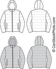 Hooded jacket - Vector illustration of hooded jacket. Front...