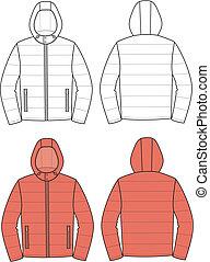 Hooded jacket - Vector illustration of hooded jacket. Front ...
