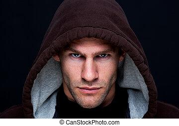 hooded, man