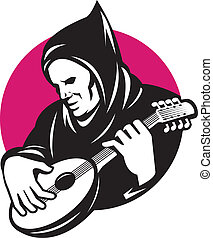 Illustration of a hooded man playing stringed musical instrument banjo guitar done in retro style.