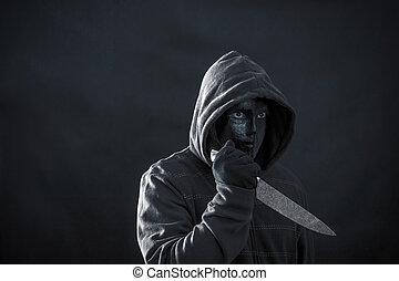 hooded, masker, donker, black , vasthouden, mes, man